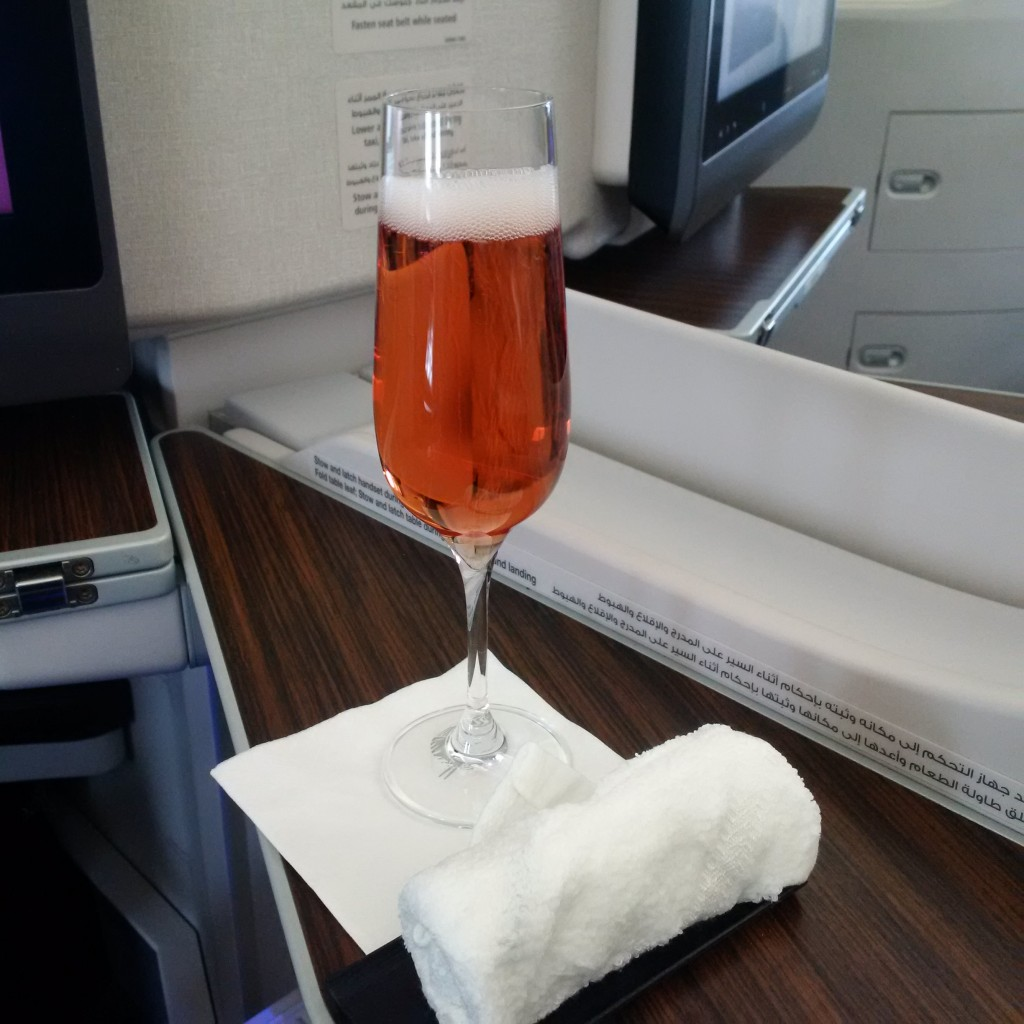 Qatar Airways Business Class A350 Welcome Drink