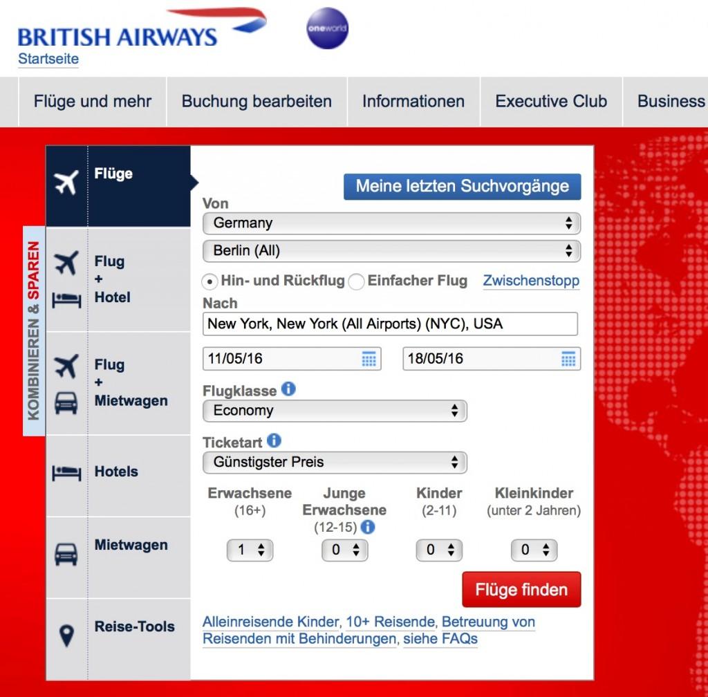 British Airways Gutschein einlösen