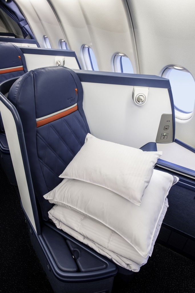 Heavenly bedding in Delta One on an Airbus 330-300 (333). - These images are protected by copyright. Delta has acquired permission from the copyright owner to the use the images for specified purposes and in some cases for a limited time. If you have been authorized by Delta to do so, you may use these images to promote Delta, but only as part of Delta-approved marketing and advertising. Further distribution (including proving these images to third parties), reproduction, display, or other use is strictly prohibited.