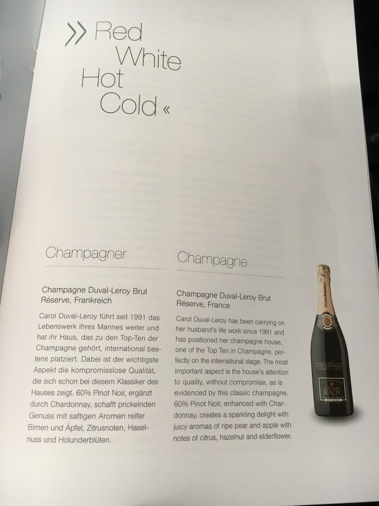Lufthansa Business Class Champagner