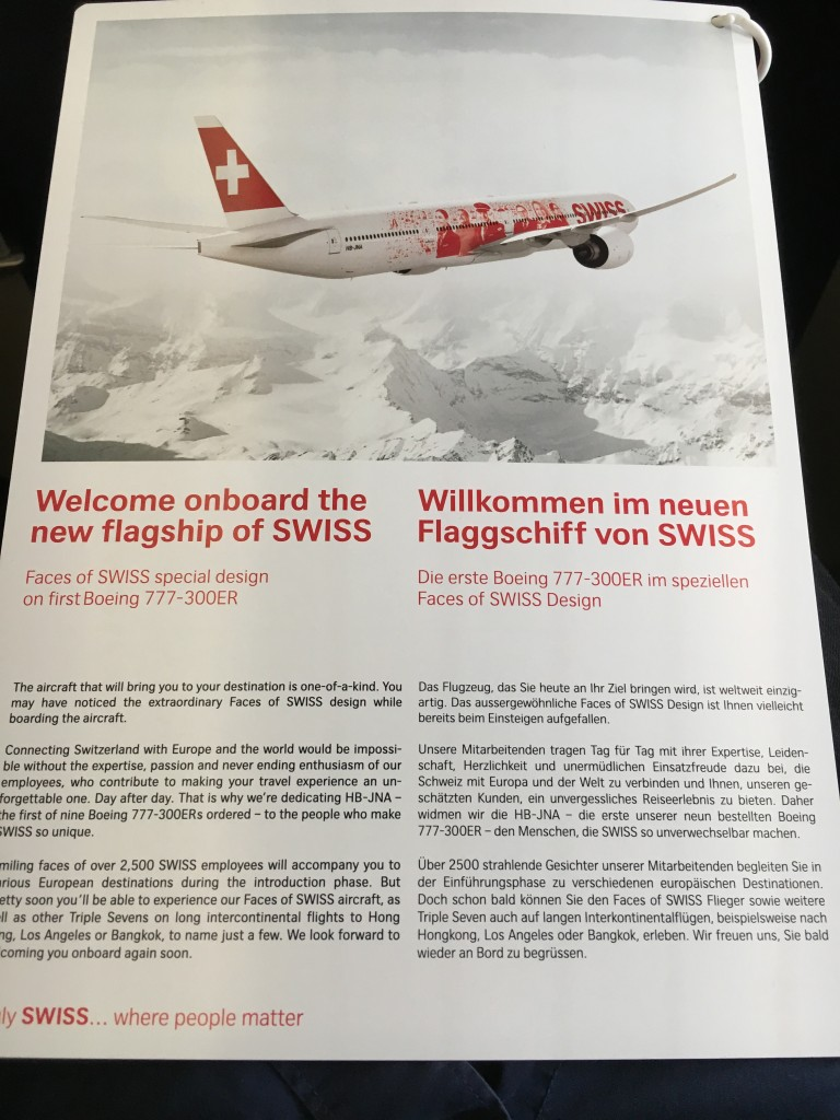 SWISS Boeing 777 Business Class - Informationskarte