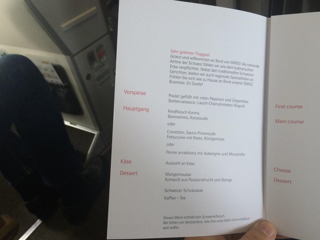 Swiss Business Class A320 Menü