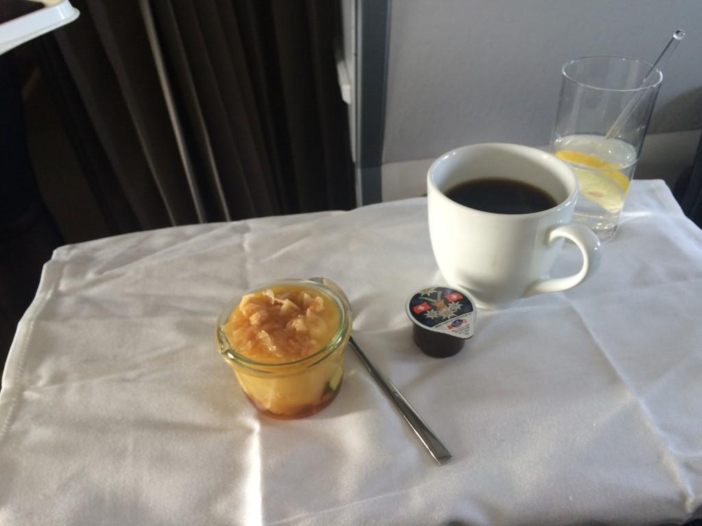 Swiss Business Class Kairo - Dessert und Kaffee