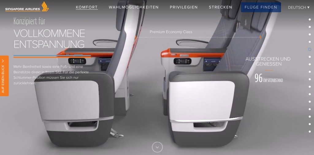 Singapore Airlines Premium Economy Class Angebote