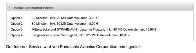 airberlin-WLAN-Preise