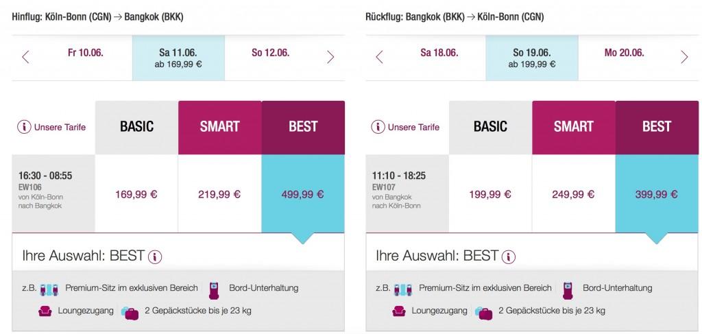 Miles and More Statusmeilen generieren - Mit Eurowings nach Bangkok