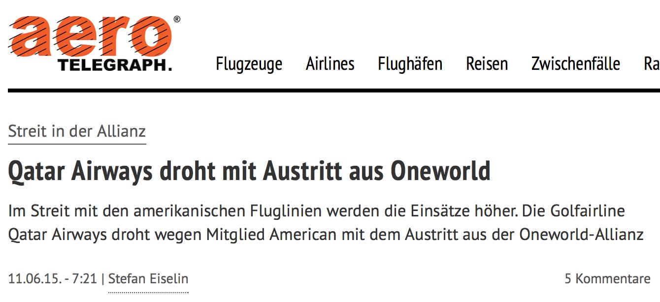 Qatar droht mit Oneworld Austritt