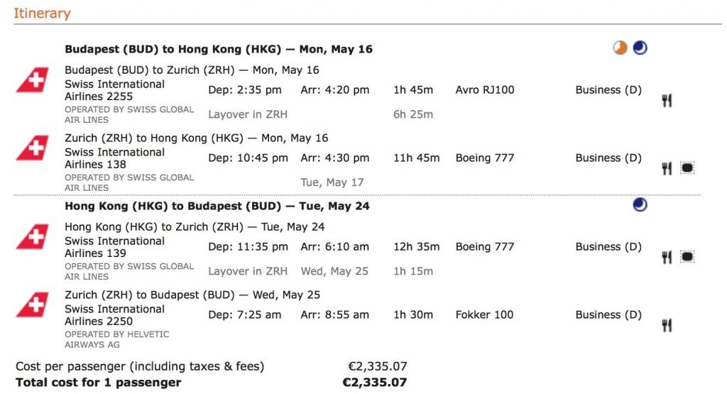 Miles and More Statusmeilen generieren - Swiss nach Hongkong
