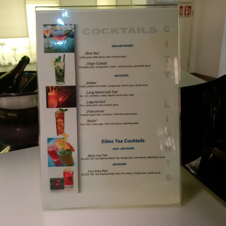 Lufthansa Senator Lounge Frankfurt Terminal 1B - Cocktailkarte