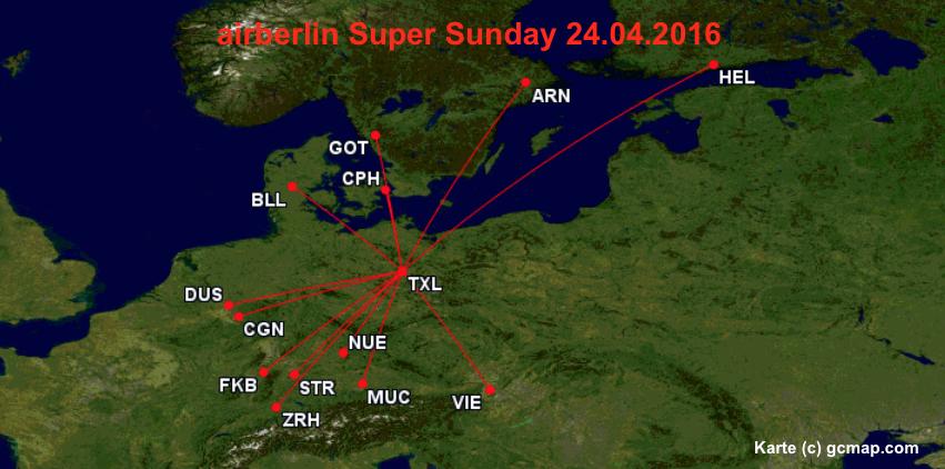 airberlin Super Sunday Skandinavien