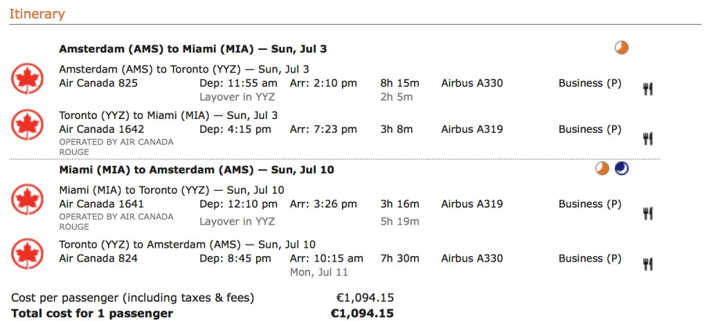 Star Alliance Business Class Sale Air Canada nach Miami