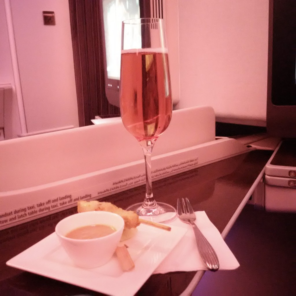 Qatar Airways Business Class A380 Welcome Drink