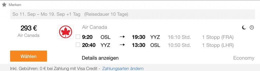 InsideDeals mit Air Canada nach Kanada