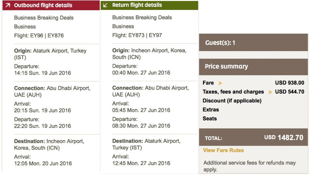 Etihad Airways Business Class Sale ab Istanbul