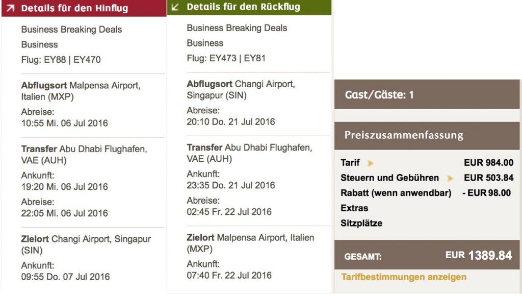 Etihad Airways Business Class Sale nach Singapur