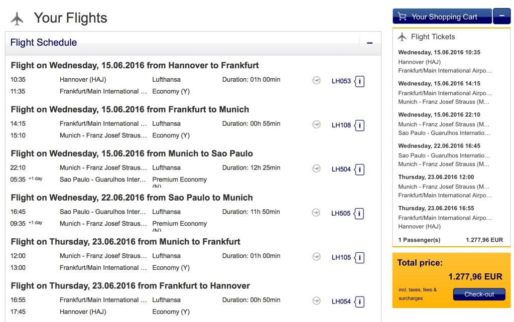 Lufthansa Premium Economy Class Angebote nach Sao Paulo