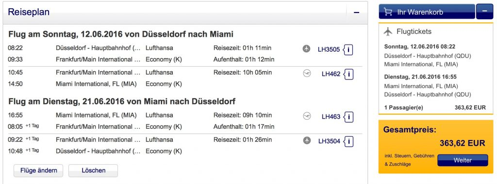 InsideDeals Lufthansa nach Miami