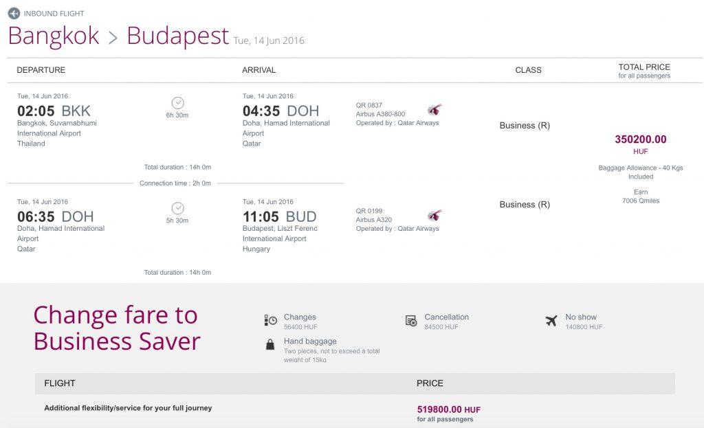 Qatar Airways Business Class Partner Sale