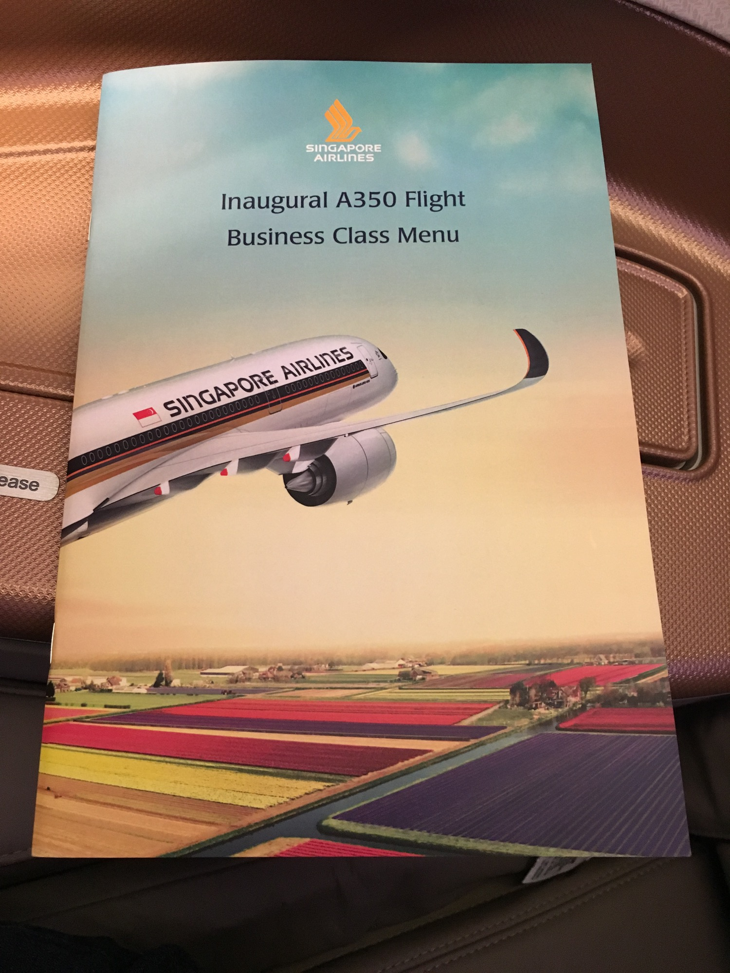 Singapore Airlines A350 Business Class Menu - 1