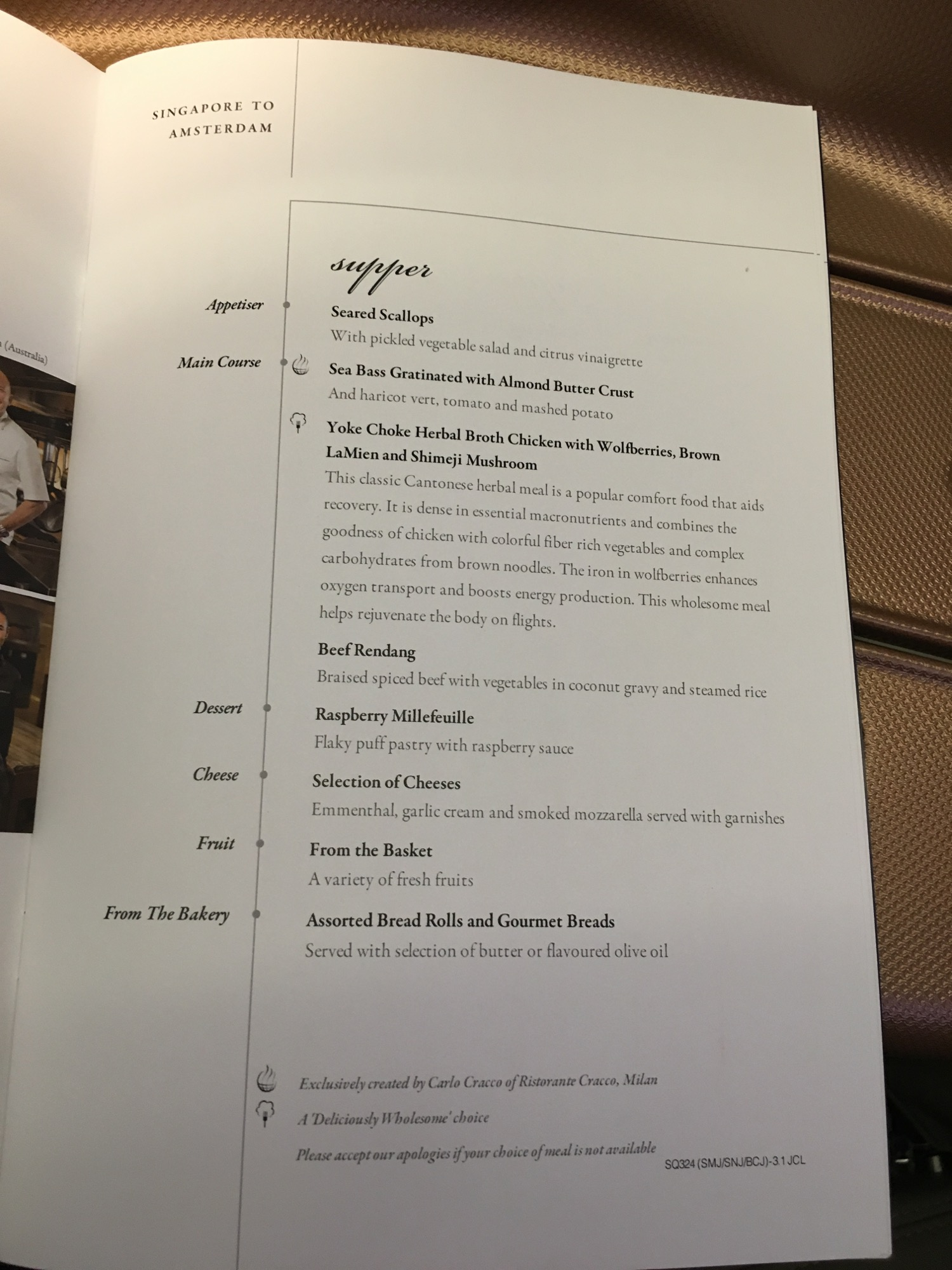 Singapore Airlines A350 Business Class Menu - 2