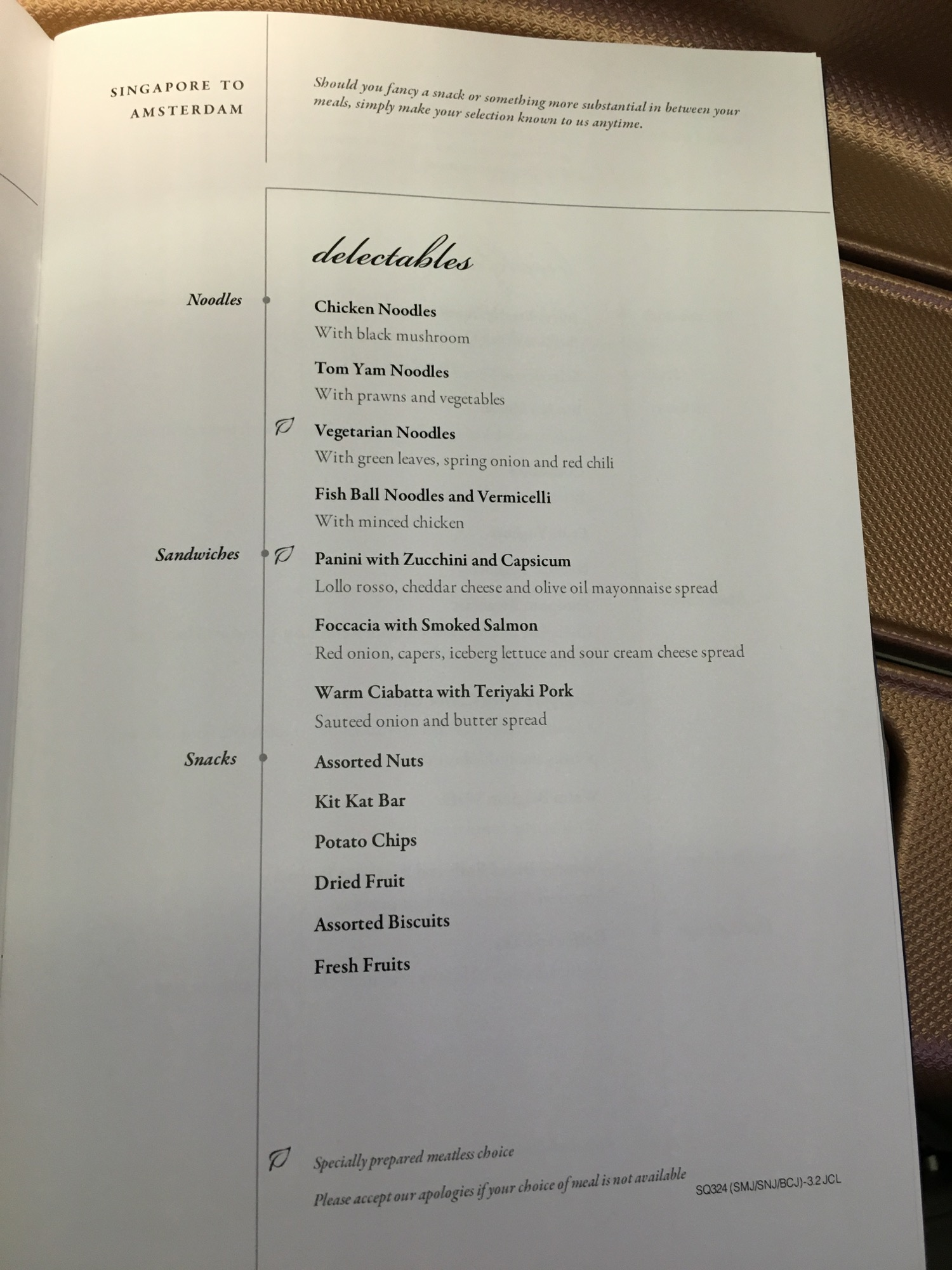 Singapore Airlines A350 Business Class Menu - 3