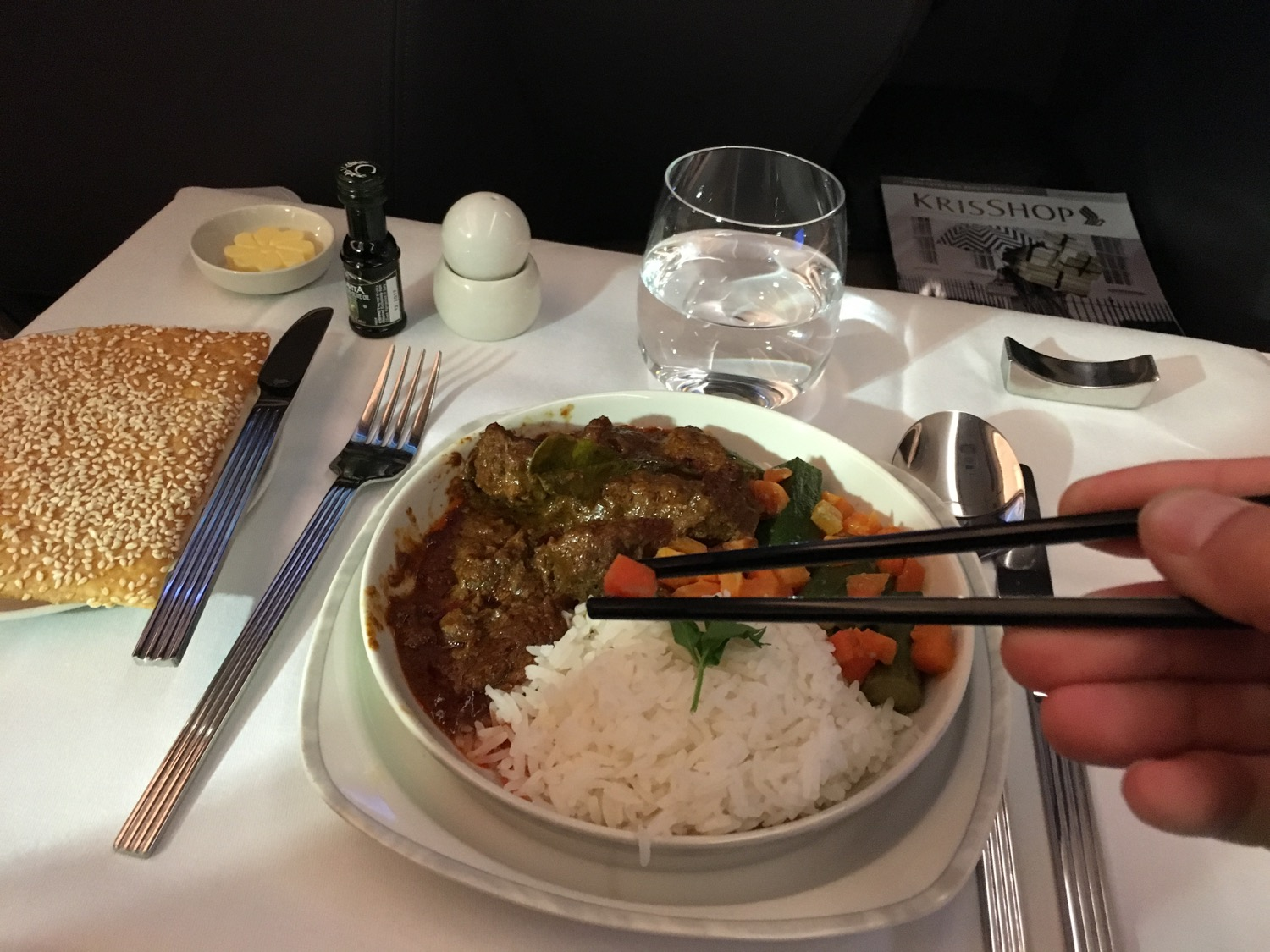 Singapore Airlines A350 Business Class Supper - 2