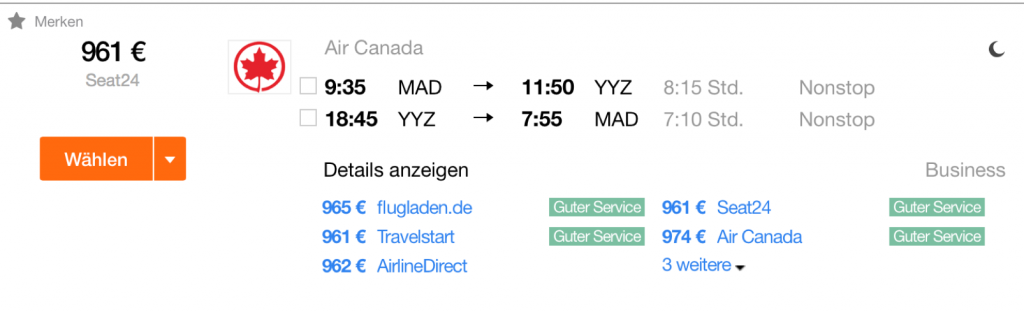 Air Canada Business Class Angebote nach Toronto