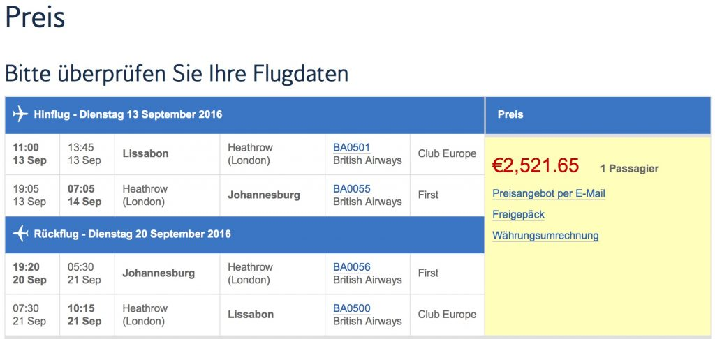 British Airways First Class Sale nach Johannesburg