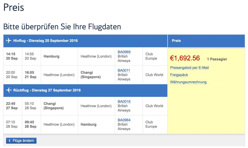 British Airways Business Class Angebote nach Asien
