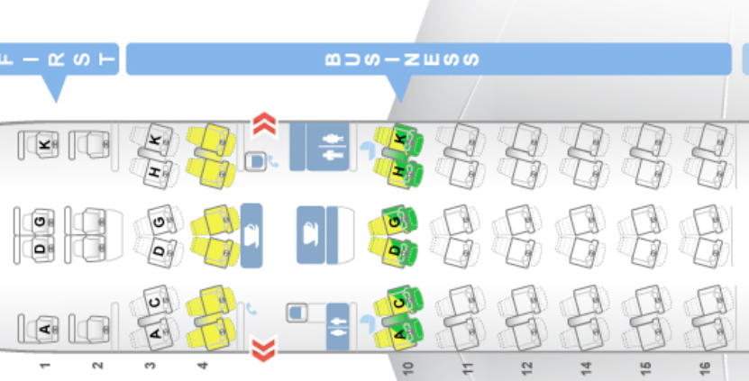 Lufthansa Business Class - Seatmap Airbus A330-300