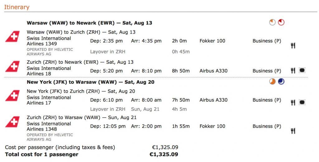 Lufthansa Business Class Angebote - SWISS nach New York