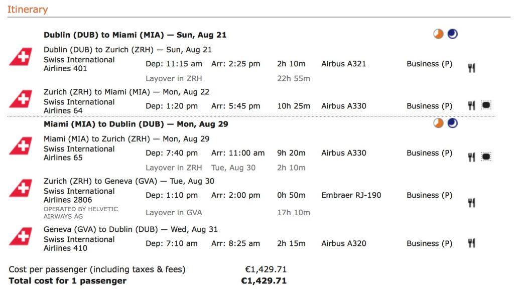 Lufthansa Business Class Angebote nach Miami
