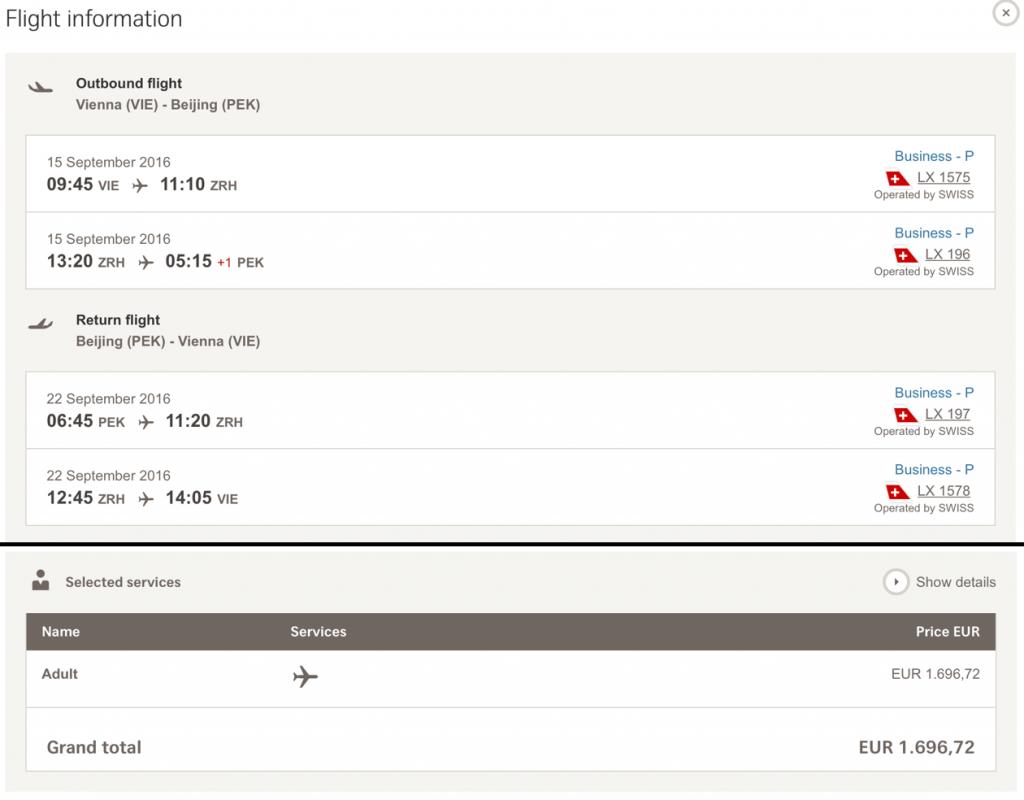 SWISS Business Class Angebote nach Peking