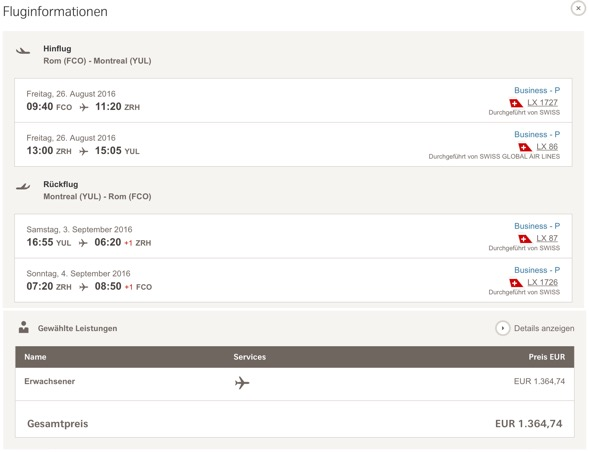 SWISS Business Class Angebote nach Montreal