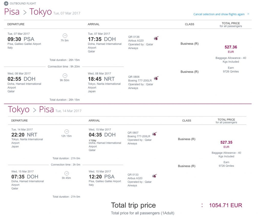 Qatar Airways Business Class Sale nach Tokio