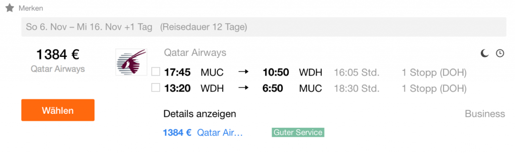 Qatar Airways Final Call Angebote nach Windhuk