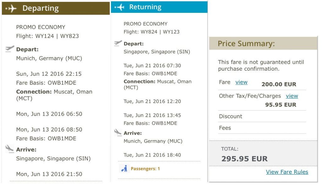 Oman Air Sale nach Singapur