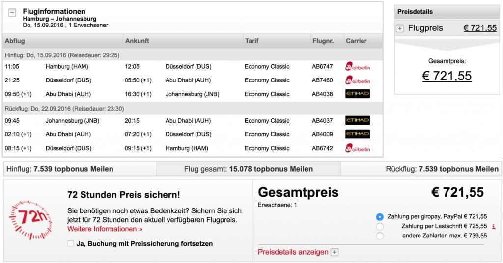 airberlin Statuskunden nach Johannesburg sammeln