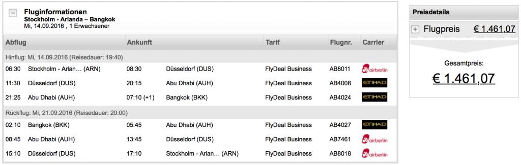 airberlin und Etihad Airways Business Class Angebote