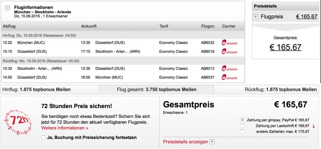 airberlin Statusmeilen nach Stockholm