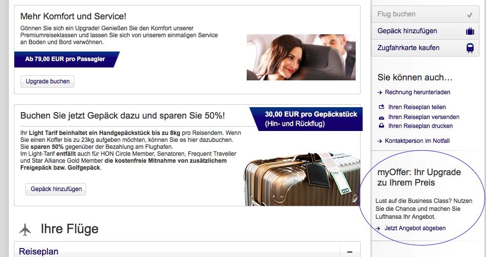 Lufthansa Business Class Upgrade