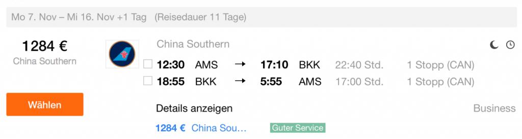 InsideDeals China Southern nach Bangkok