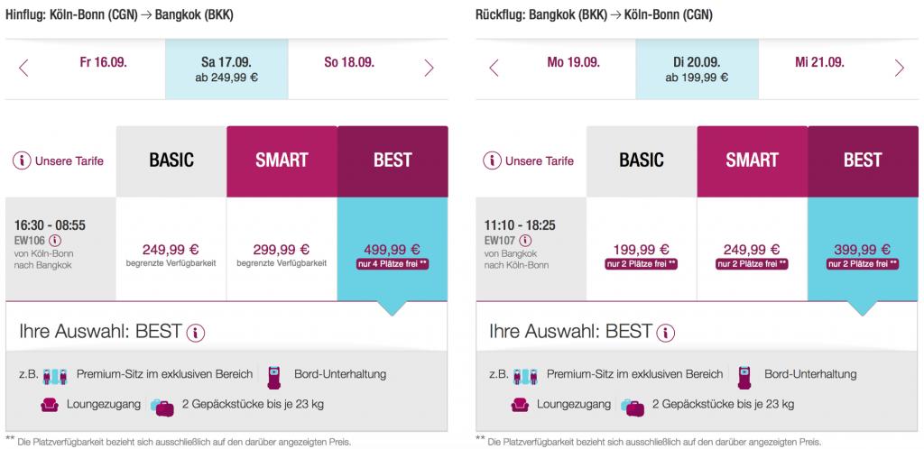 Lufthansa Statusmeilen nach Bangkok sammeln