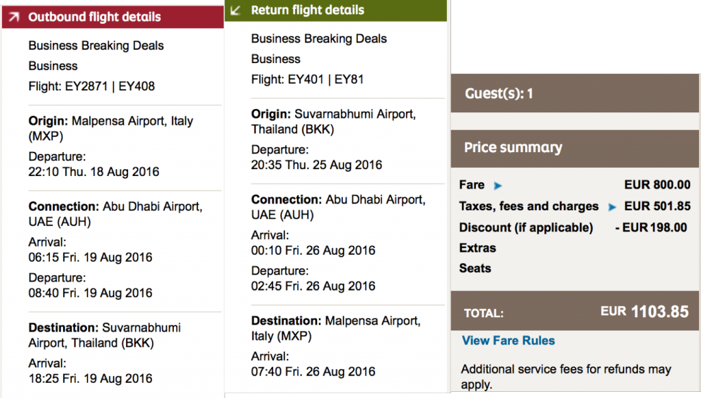 Etihad Airways Weekend Sale nach Bangkok