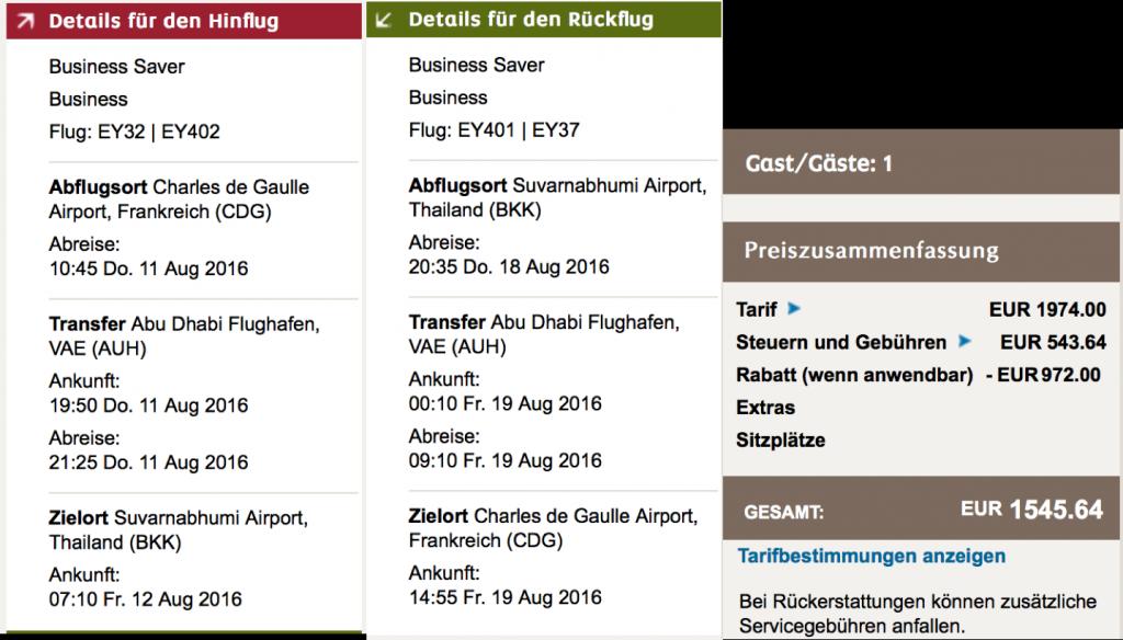 50 Prozent Rabatt auf Etihad Airways Flüge