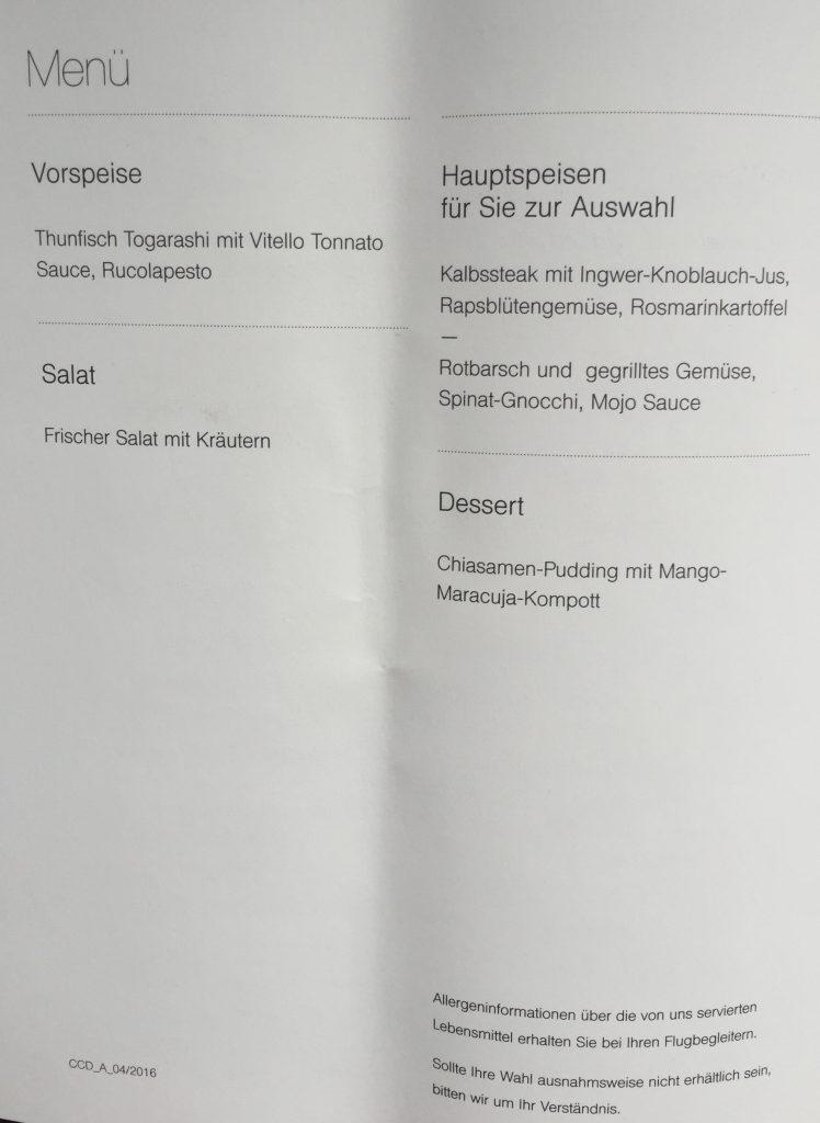 Lufthansa Business Class - Menü