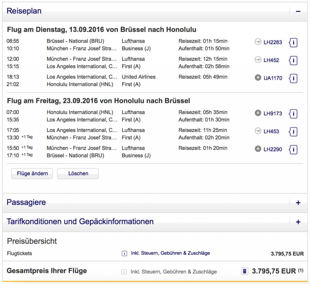 Lufthansa Statusmeilen nach Honolulu