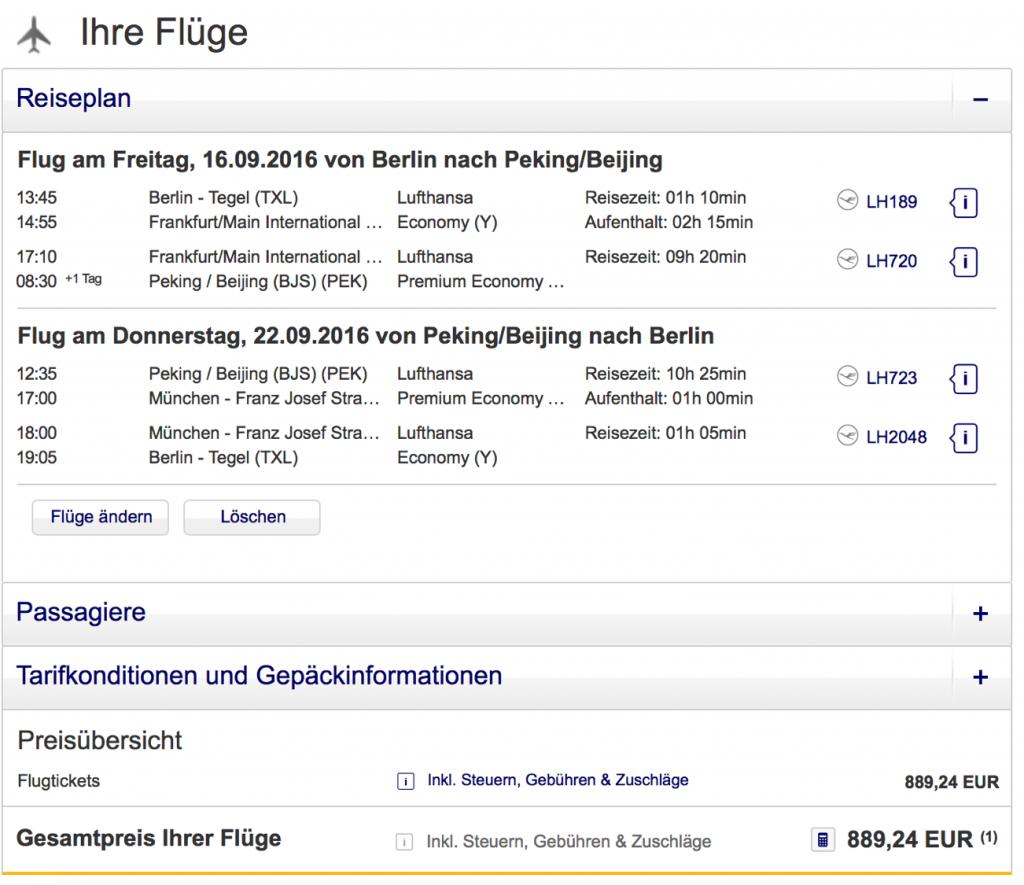 Lufthansa Statusmeilen nach Pekiing
