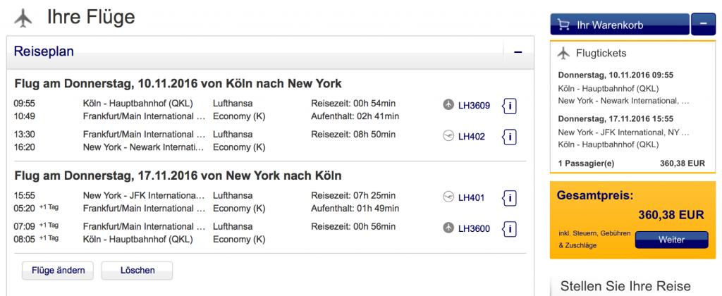 InsideDeals Lufthansa nach JFK