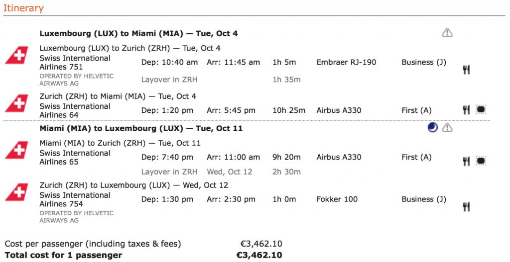 Mit SWISS fliegen Lufthansa First Class Angebote